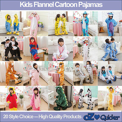 Kids Fleece Unisex Onesies Kigurumi Animal Pajamas Cosplay Costume Sleepwear
