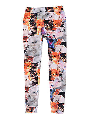 Women's Girls Skinny Pencil Pants Footless Cat Flower Print Leggings