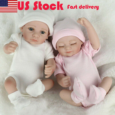 "Handmade Reborn Baby Dolls Real Lifelike Vinyl Boy Girl Newborn 10"" Twins Doll"