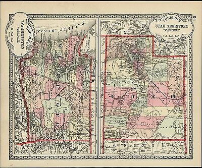 Utah Territory Washington State New Mexico c.1890 scarce old map hand colored