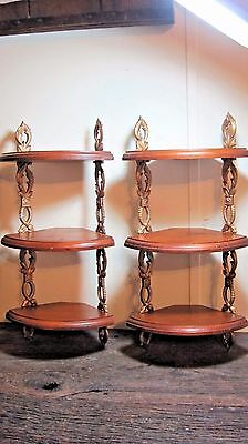 Vintage Mid Century Wood & Metal Wall Shelves Home & Garden Display Rack Stands