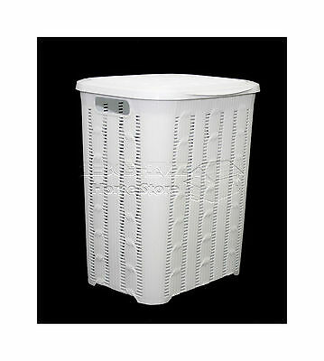 Stylish 45L Braided Design Rattan Plastic Laundry Basket Bin Storage Box White