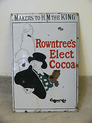 An Antique/vintage Original Enamel Rowntree's Elect Cocoa Sign