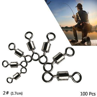 100Pcs Fishing Barrel Bearing Swivels Stainless Steel Solid Ring Connector 2# FT