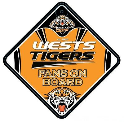 Wests Tigers NRL Team Supporters Car Sign * Fans on Board