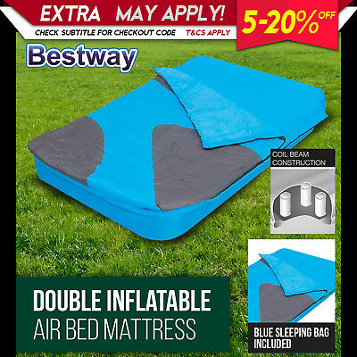NEW BestWay 2 in 1 Double Air Bed Inflatable Mattress Blue Camping Sleeping Bag