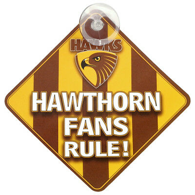 Hawthorn Hawks AFL Team Supporters Car Sign * Hawks Fans Rule!