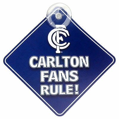 Carlton Blues AFL Team Supporters Car Sign * Carlton Fans Rule!