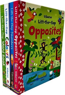 Usborne Lift the Flap Collection 4 Books Set Number, Wordbook, Colours, Opposite