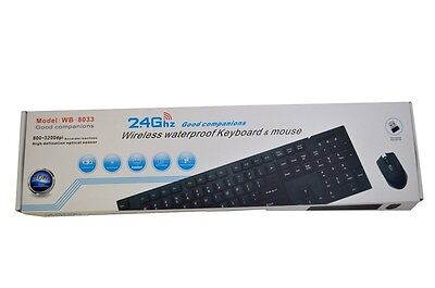 Wirless Keyboard and Cordless Mouse Set Slim Black 2.4GHz For PC Desktop Laptops