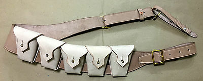 RIGHT Shoulder UK 1903 Pattern Leather Cavalry Bandolier 5 Five Pocket - REPRO.