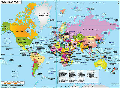 World Map New Quality Canvas Print Choose Your Size..