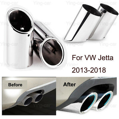 2Pcs Tailpipe Trims Exhaust Muffler Tail Pipe Tip for VW Jetta 2013-2016 2017 18
