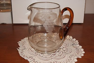 Vintage....clear Glass....etched Grapes...large...applied Handle Pitcher