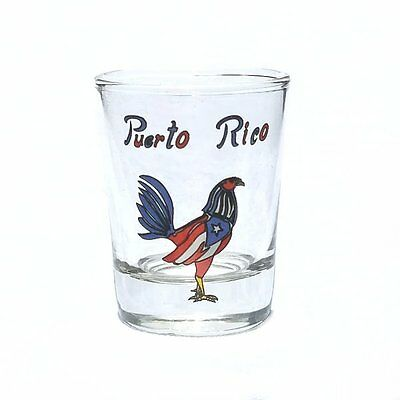 2OZ Shot Glass With Puerto Rico Flag - Rooster Crystal SOUVENIRS Rican Boricua