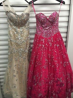 LOT OF 2 Prom Dress Studded JOVANI  ,Red , Badge Size  8