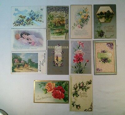 Vtg Lot 11 Early1900's Antique Victorian Birthday ETC USA Germany Post Cards LOT
