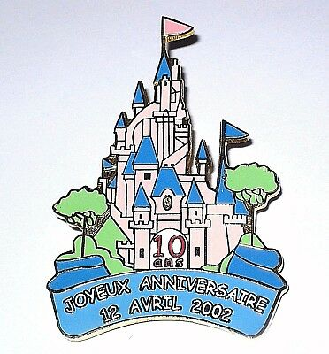LE 150 Retired Disney Fantasy Pin✿Paris Anniversary 10 Years Castle Large French