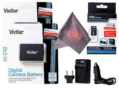 Batteries & Charger LP-E10 w/ Microfiber Cloth for Canon Rabel T6 T5 T3 EOS 1100
