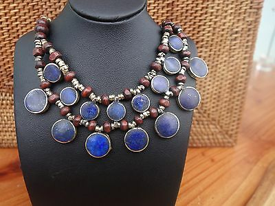 Lapis Lazuli Afghan Turkmen Round necklace Tribal Alpaca  necklace Boho