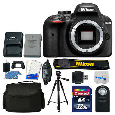 Nikon D3400 DSLR Camera Top Value Accessory Kit: Remote +Bag +Tripod +32GB +More