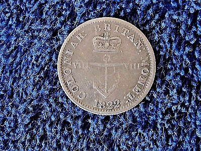 1822 Britain George IV Colonial West Indies 1/8 Dollar Anchor Money, KM # 2