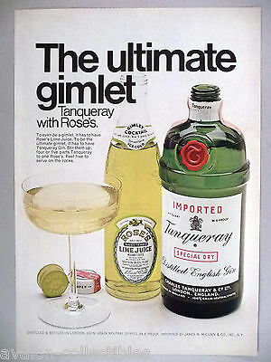 Tanqueray Gin with Roses Lime Juice Gimlet PRINT AD - 1970