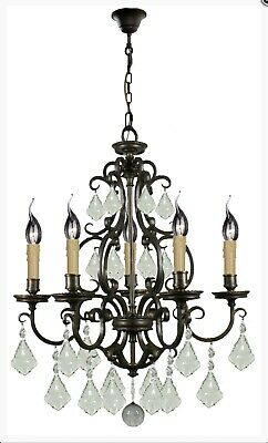 LARGE BLACK IRON CHANDELIER FRENCH COUNTRY PENDANT 5 LIGHT VINTAGE FOYER No.58