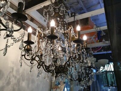 LARGE HUGE CHANDELIER FRENCH COUNTRY PENDANT 8 LIGHT VINTAGE FOYER No.62