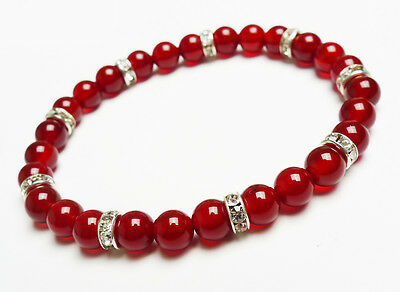 Genuine Natural Red Agate Round Beads Lady Girls Bracelet  6 mm