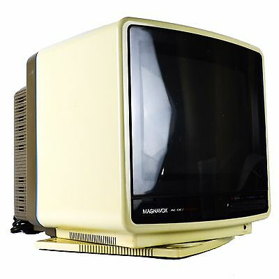 "Magnavox TV Perfect View CRT Television Vintage AC/DC 10"" Color Swivel Base"