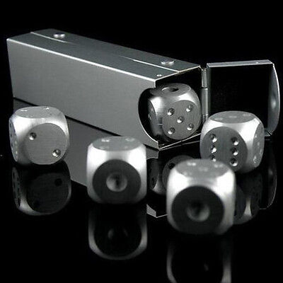 Silver Aluminium Alloy Poker Solid Dominoes Dice Game Portable Dice Poker Party0