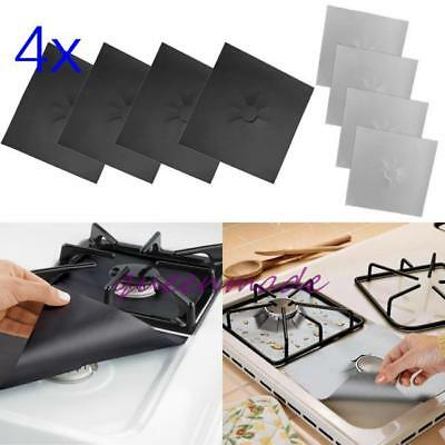 4x Stovetop Burner Protector Gas Hob Range Liner Cover Cleaning Kitchen Cook Q