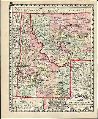 Idaho Western Montana Wyoming c.1890 scarce early detailed old map hand colored