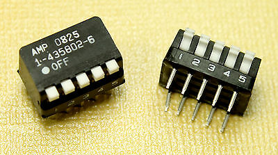 AMP 5 Position Piano Style SPST DIP Switch 0.1A 24VDC 10 Pin 5 Pos 0825