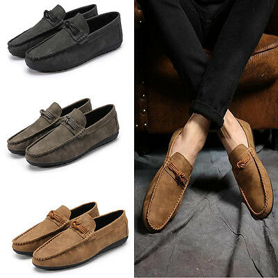 Mens Driving Moccasins Slip On Loafers Casual Sneakers Suede Soft  Fashion Shoes