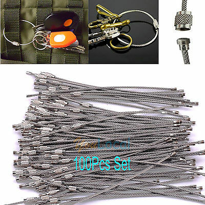 "100PC 6"" Stainless Steel Aircraft Cable Wire Keychain Soft Key Chains Rings Lock"