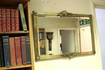 Vintage English Brass Overmantel Mirror - FREE Delivery [PL2404]