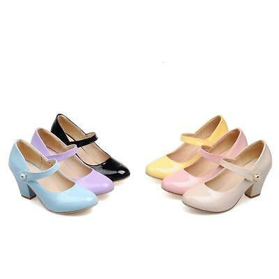 Womens Round Toe Ankle Strap Mary Jane Block Heel Strap Buckle Wedding Shoes New
