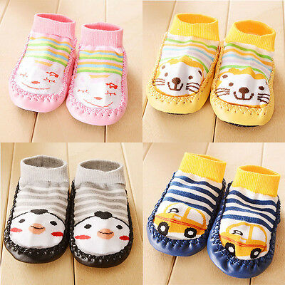 Cartoon Kids Toddler Baby Soft Warm Anti-slip Shoes Boots Slipper Socks 0-1T New