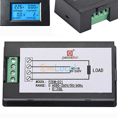 AC 20A 80-260V LCD Digital Watt Current Power Voltage Meter Ammeter Voltmeter