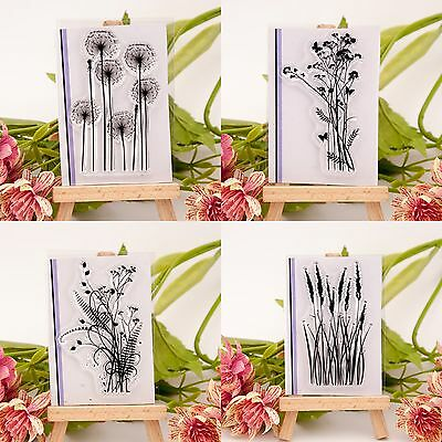 Flower & Grass Transparent Silicone Clear Rubber Stamp Sheet Cling Scrapbook DIY