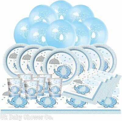 New Boys UMBRELLAPHANTS Baby Shower Party Supplies Tableware Blue Kit For 8 &16