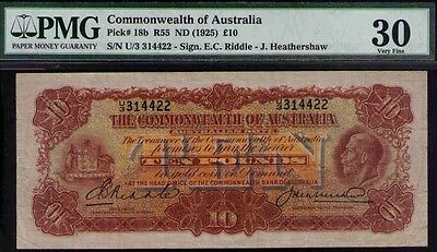 Australia R55. (1927) 10 Pounds - Riddle/Heathershaw KGV. a/VFine. NATURAL BEST