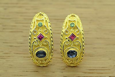 Byzantine Etruscan Earrings EMERALD SAPPHIRES 925 STERLING SILVER GREEK EARRING