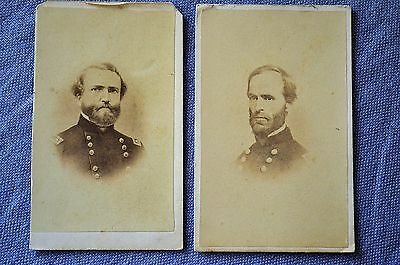 2 CDVs of Union Generals, Sherman & Thomas With Written Sentiments