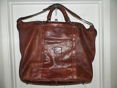 Vintage Vera Pelle Brown Leather Zip Top Carpet Bag Travel Overnight Bag Made In