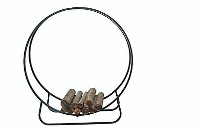 Large Metal Wrought Iron Contemporary Round Log Basket Fireside Carrier Storage