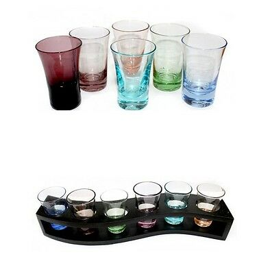 6 x Glass Shot Glasses Set 50ml Coloured Base with Optional Wooden Tray Holder
