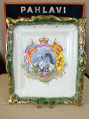Antique King Edward VII Commemorative Wall Plaque Plate Coronation 1902  Pottery